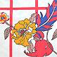羽とお花柄のシャツ